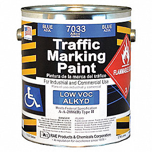 Alkyd Solvent-Base Traffic Zone Marking Paint, Blue, 3.78L