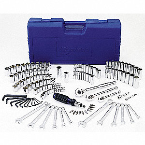 "1/4"", 3/8"", 1/2""Drive SAE/Metric Chrome Socket Wrench Set, Number of Pieces: 145"
