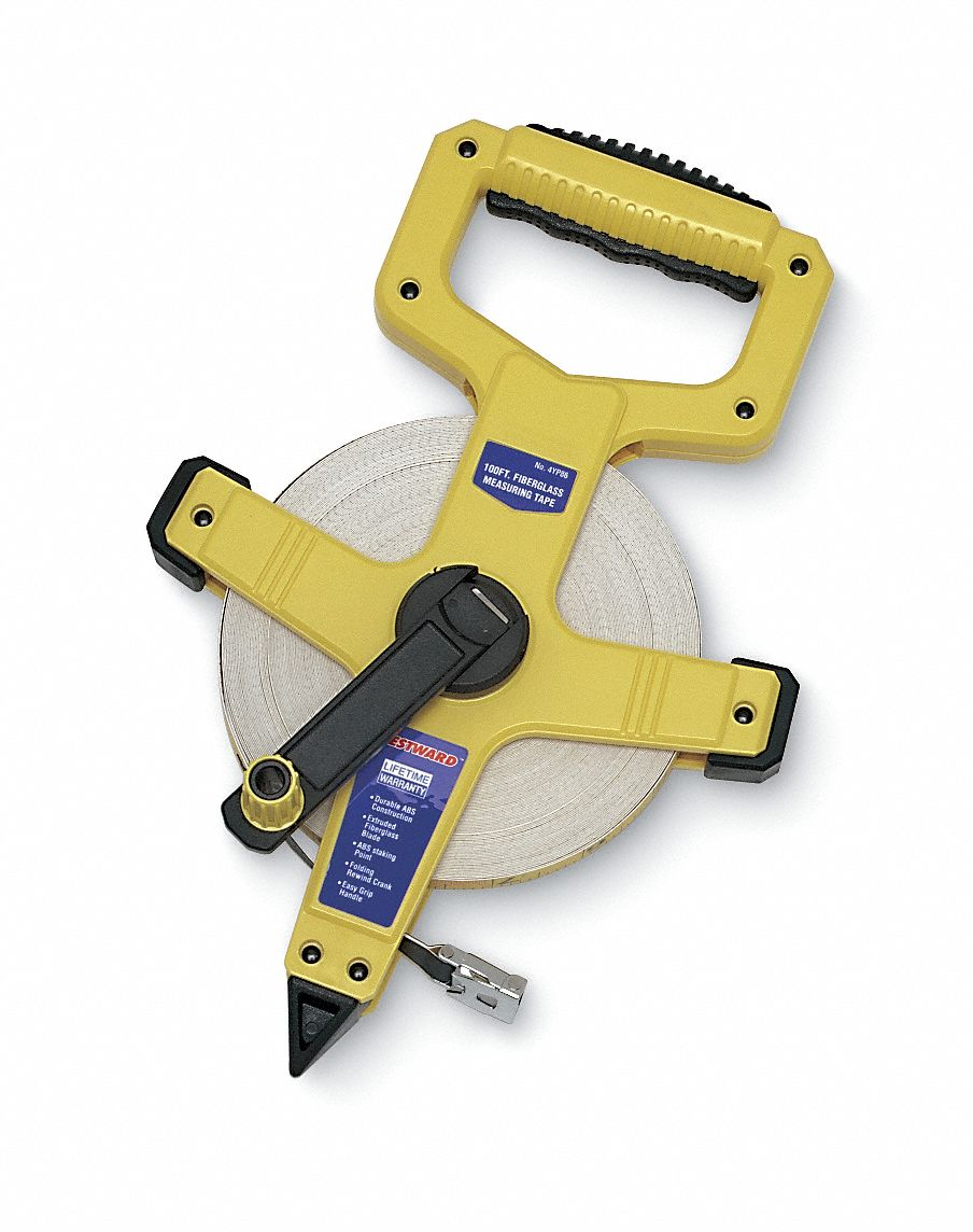 WESTWARD 100 ft Fiberglass SAE Engineers Long Tape Measure Yellow