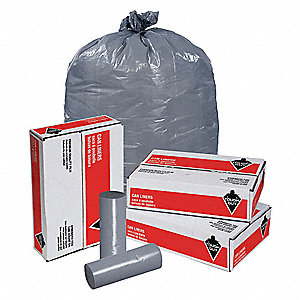 45 gal. LLDPE Extra Heavy Trash Bags, Coreless Roll, Gray, 100PK