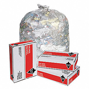 65 to 95 gal. Super Heavy Trash Bags, Clear, Flat Pack of 50