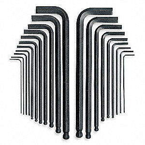 Long L-Shaped SAE/Metric Black Oxide Ball End Hex Key Set, Number of Pieces: 20