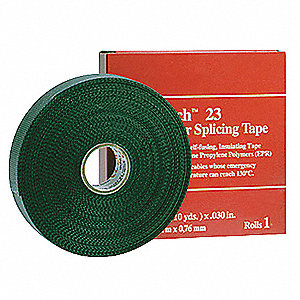 "Black Polyester Lining Rubber Splicing Tape, 1"" Width, 30 ft. Length, 30 mil Thickness"