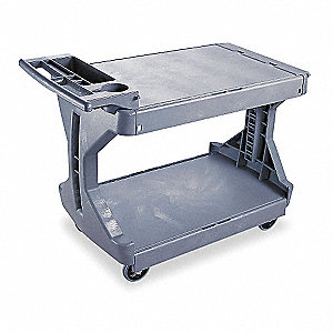 Polyethylene Raised Handle Utility Cart, 400 lb. Load Capacity, Number of Shelves: 2