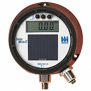 "-30 to 0 to 15 In. Hg/psi Digital Compound Gauge with Transmitter, 4-1/2"" Dial, 1/2"" MNPT Connection"