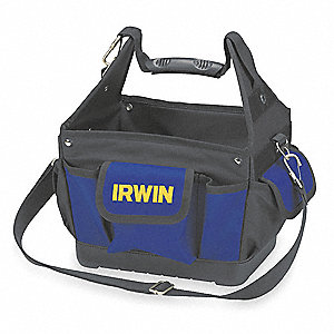 "Nylon Tool Tote, 11"" Width, Number of Pockets: 26, Blue"