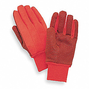 Cotton Jersey Gloves, Knit Cuff, 9 oz. Fabric Weight, Orange, Men's L, PR 1