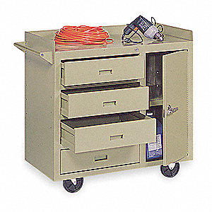 Putty Mobile Service Bench, 1000 lb. Load Capacity, (2) Rigid, (2) Swivel Caster Type