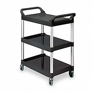 Polypropylene Raised Handle Utility Cart, 200 lb. Load Capacity, Number of Shelves: 3