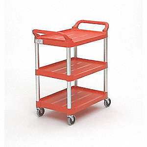 Lipped Plastic Raised Handle Utility Cart, 200 lb. Load Capacity, Number of Shelves: 3
