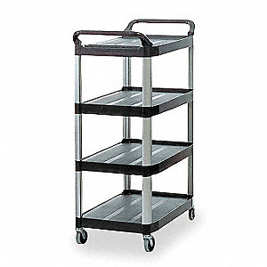 "40-3/8""L x 20""W Black Utility Cart, 300 lb. Load Capacity, Number of Shelves: 4"