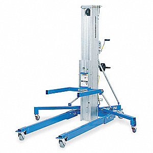 manual lift, manual push equipment lift, 800 lb load capacity, lifting height max 254 1 2\