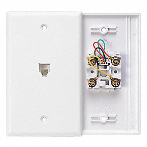 White Wall Plate Jack, Plastic, Number of Gangs: 1, Cable Type: Flush Mount