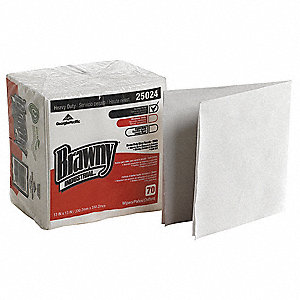 "Brawny® Professional Hydroentangled Fiber Disposable Wipes, 70 Ct. 13"" x 13"" Sheets, White"