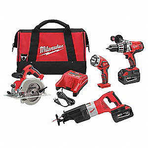 Cordless Combination Kit, 28.0 Voltage, Number of Tools 4