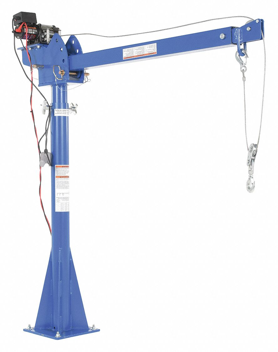 Davit Crane, 2,000 lb, Reach 51.25 in to 87.25 in, Lift Range 59-1/2 in to 106-1/2 in
