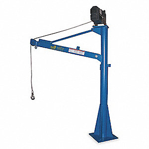 "Davit Crane, 1500 lb., Reach 43"" to 66"", Lift Range 47"" to 73-3/16"""