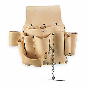White Electricians Tool Pouch, Top Grain Saddle Leather, Fits Belts Up To (In.): 2-3/4
