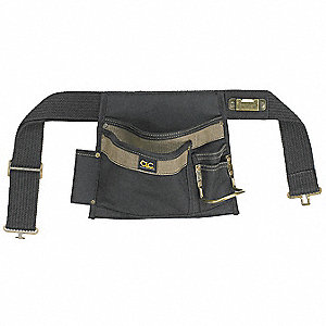 "Tan/Black Carpenters Tool Pouch, Heavy Duty Polyester, Up to 46"" Waist Size, Number of Pockets: 6"