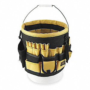 Bucket Organizer, Yellow/Black Polyester
