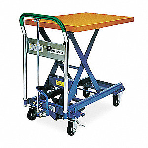 "Scissor Lift Cart, Fixed, 330 lb., Platform Width 17-7/10"", Platform Length 28"", Raised Height 29"""