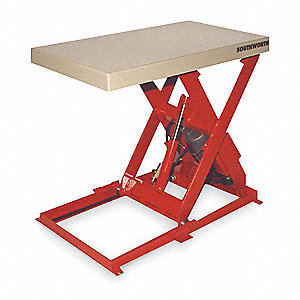 Stationary Electric Lift Scissor Lift Table, 1500 lb. Load Capacity, Lifting Height Max. 41-1/4""