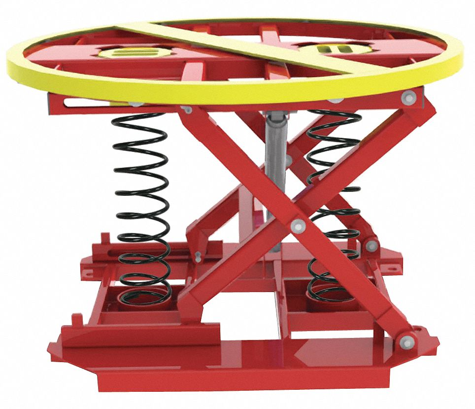 Compression Spring Pallet Positioner and Level Loader, 4,500 lb Load Capacity, 28 inRaised Height