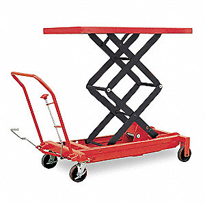 Mobile Manual Lift, Manual Push Scissor Lift Table, 1500 lb. Load Capacity, Lifting Height Max. 59""