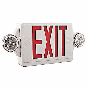 Exit Sign w/Emergency Lights,Red