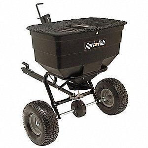 Tow Behind Spreader, 175 lb. Capacity, High Output Drop Type, Pneumatic Wheel Type