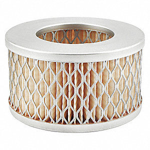 "Air Filter, Round, 2"" Height, 2"" Length, 3-17/32"" Outside Dia."