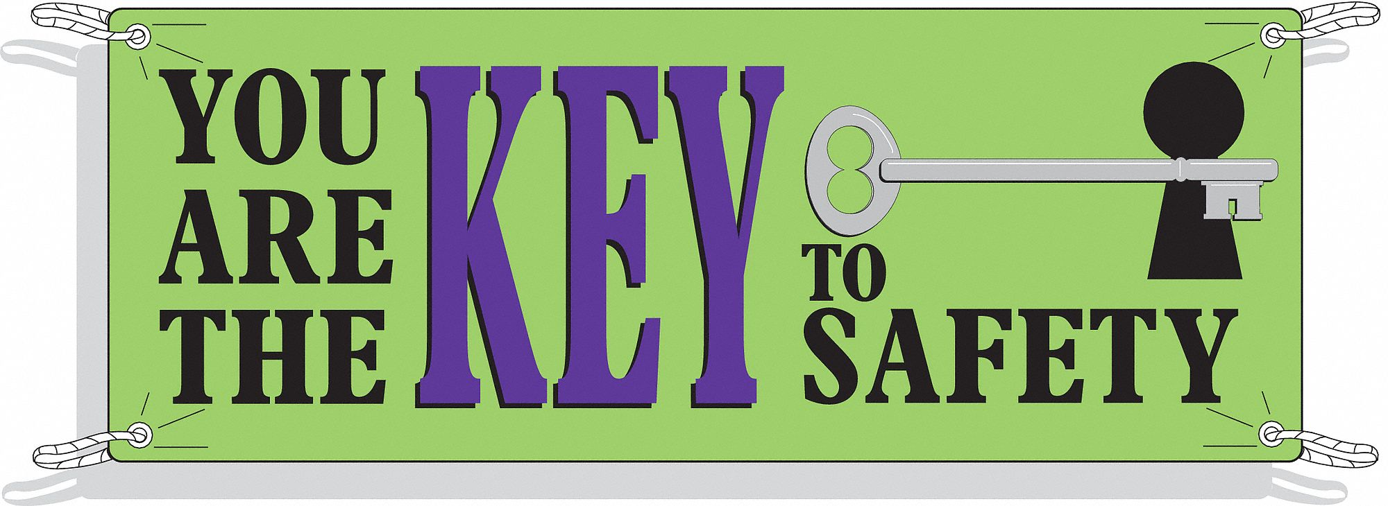 Safety Banner,  Safety Banner Legend You Are The Key To Safety,  48 in x 120 in,  English
