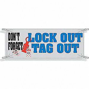 "Safety Banner, English, 42"" x 120"", 1 EA"
