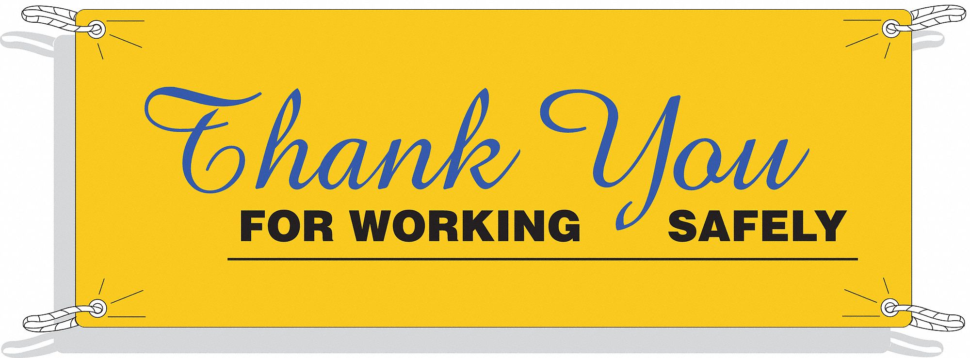 Safety Banner,  Safety Banner Legend Thank You For Working Safely,  48 in x 120 in,  English