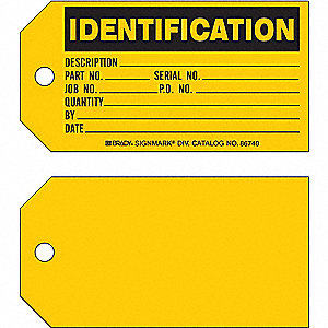 "Cardstock Identification Tag, 3"" Height, 5-3/4"" Width, 100 PK"