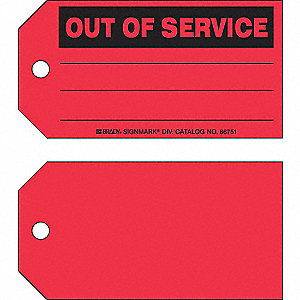 "Cardstock Out of Service, With Additional Text Out Of Service Tag, 3"" Height, 5-3/4"" Width"