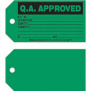 "Q.A. Approved Tag, Cardstock, Height: 3"", Width: 5-3/4"", Green"