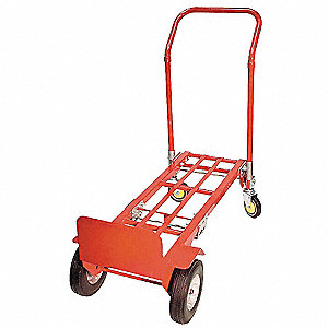 Convertible Hand Truck, Continuous Frame Flow-Back, Overall Height 53-1/2""