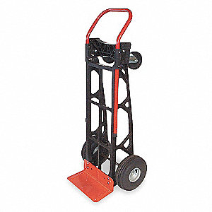 Convertible Hand Truck, Continuous Frame Flow-Back, 600 lb., Overall Height 50""