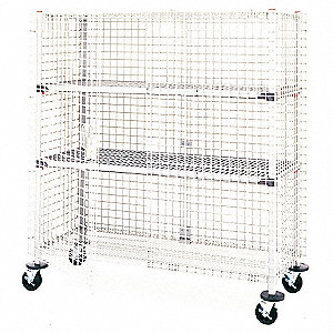 "40-3/4""L x 27-7/8""W x 67-7/8""H Taupe Steel Wire Security Cart, 900 lb. Load Capacity"