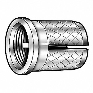 "5/16"" 18-8 Stainless Steel Knurled Press Insert with 8-32 Internal Thread Size; PK10"