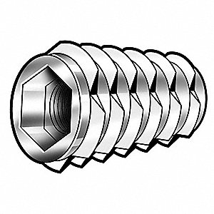 "25/32"" Die Cast Zinc Alloy Hex Drive Threaded Insert with 1/4-20 Internal Thread Size&#x3b; PK1000"
