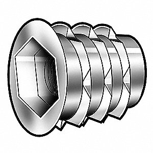 "63/64"" Die Cast Zinc Alloy Hex Drive Threaded Insert with 1/4-20 Internal Thread Size; PK50"