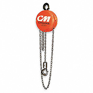 "Manual Chain Hoist, 12,000 lb. Load Capacity, 20 ft. Hoist Lift, 1-3/4"" Hook Opening"
