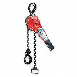 "Lever Chain Hoist, 3000 lb. Load Capacity, 20 ft. Lift, 1-1/4"" Hook Opening"