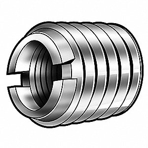 10 1/2 mm 303 Stainless Steel Self Locking Thread Insert with M6 x 1 Internal Thread Size, 5 PK