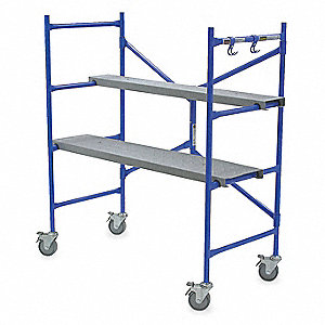 "Portable Scaffold, Aluminum, 3 ft. 8"" Platform Height, 4 ft. Overall Height, 300 lb. Load Capacity"