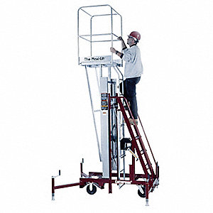 Personnel Lift, Push-Around Drive, Manual Winch Power Source, 21 ft. Max. Work Height