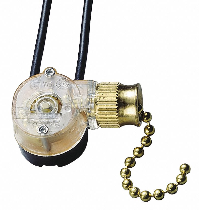 Pull Chain Switch,  SPST,  Number of Connections 2,  On/Off,  Wire Lead Terminals