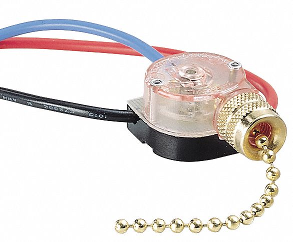 Pull Chain Switch,  SPTT,  Number of Connections 4,  Off/On/On/On,  Wire Lead Terminals
